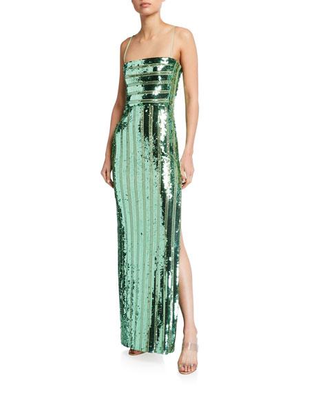 Galvan Stargaze Sequined Bandeau Gown