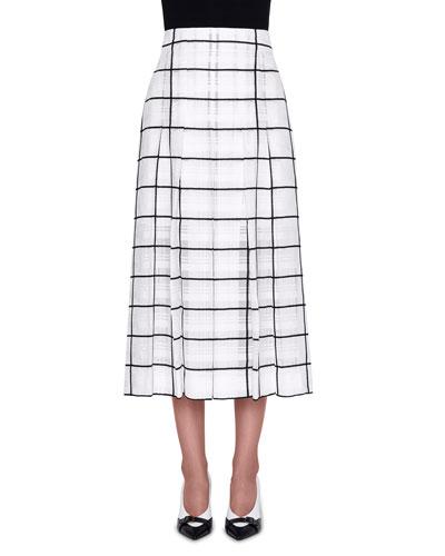 High-Rise Windowpane Midi Skirt