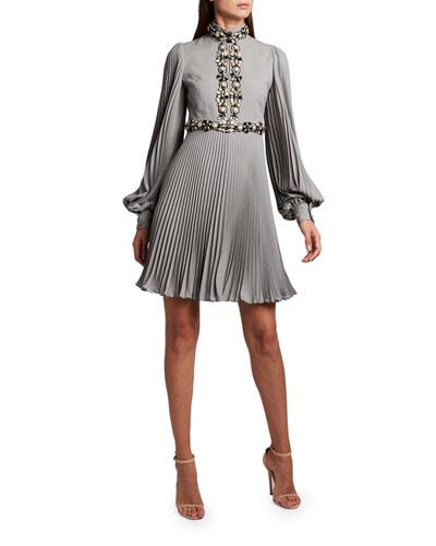High-Neck Puff-Sleeve Dress