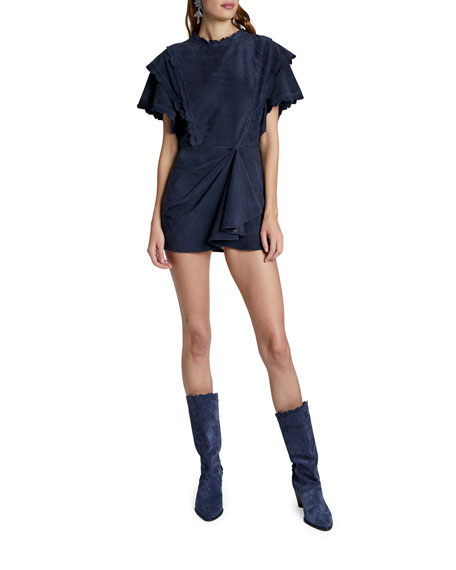 Isabel Marant Suede Ruffled Mini Dress