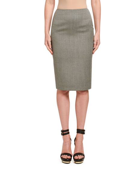 Alexander McQueen Wool Sharkskin Pencil Skirt