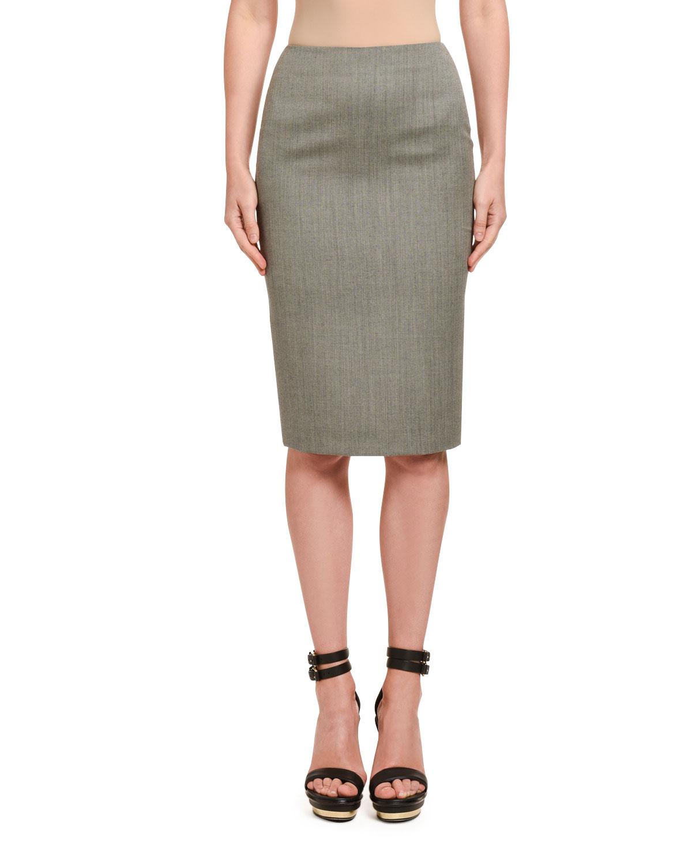 Wool Sharkskin Pencil Skirt