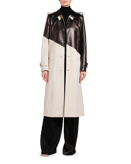 Bottega Veneta Asymmetric Colorblocked Trench Coat