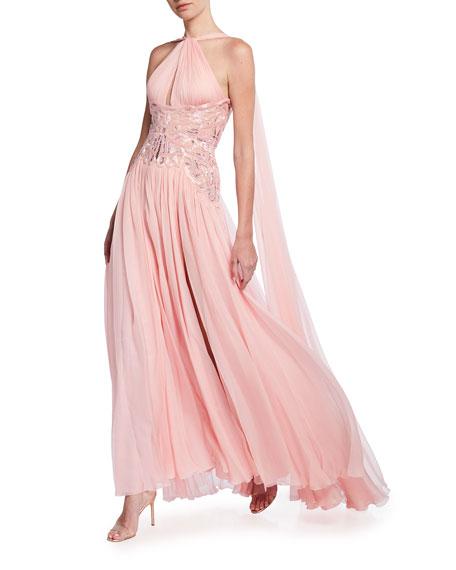 Zuhair Murad Eugenia Chiffon Cross-Strap Gown