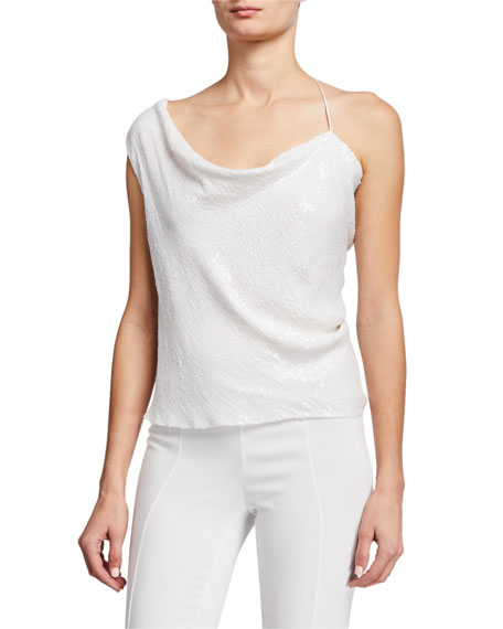 CUSHNIE Iridescent Sequined Asymmetric Draped Tank