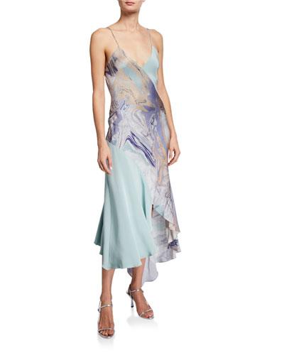 Asymmetric V-Neck Slip Dress
