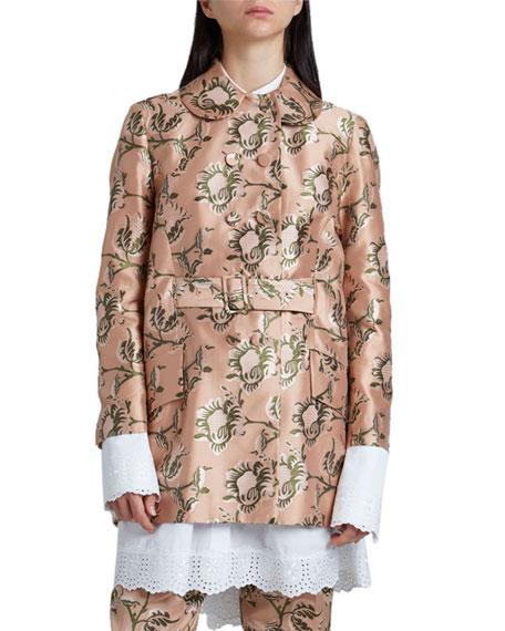 Simone Rocha Dip-Hem Floral-Print Jacket