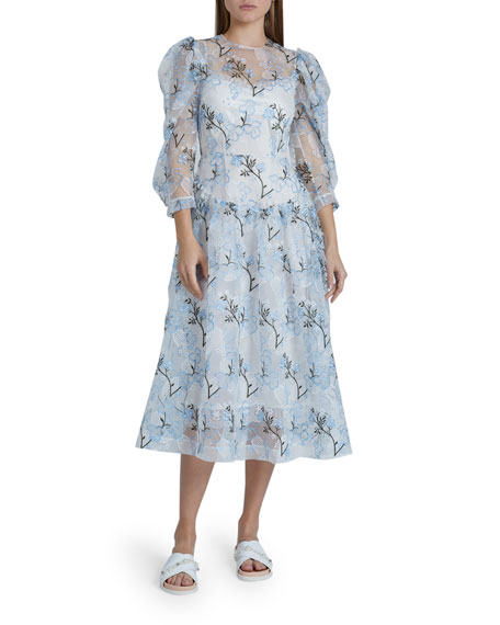 Simone Rocha Full-Sleeve Floral-Embroidered Dress