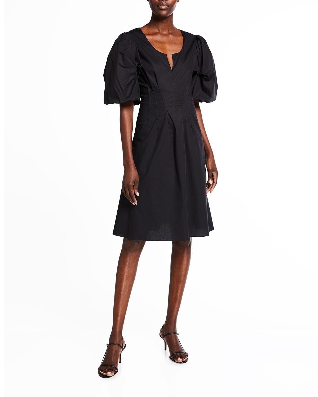Brock Collection Dresses QUEENESTE POPLIN PUFF-SLEEVE DRESS