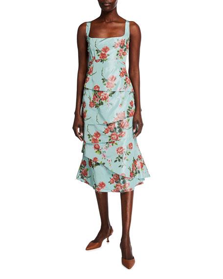 Brock Collection Quantilla Floral-Print Tiered Satin Dress