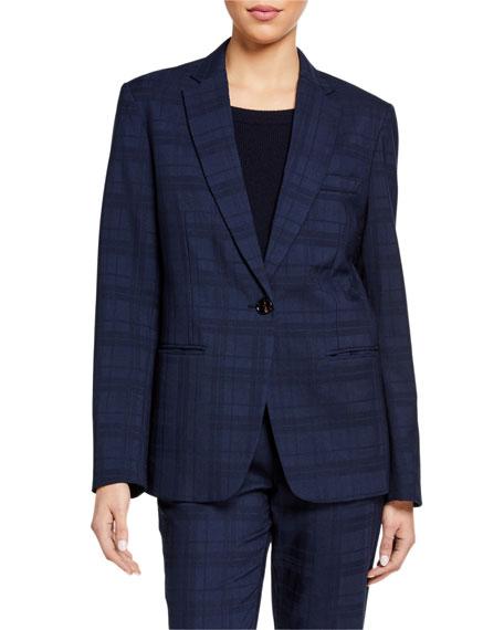 Co Plaid Wool-Silk Blazer Jacket