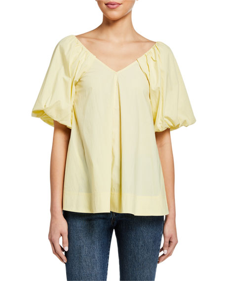 Co Puff-Sleeve V-Neck Top