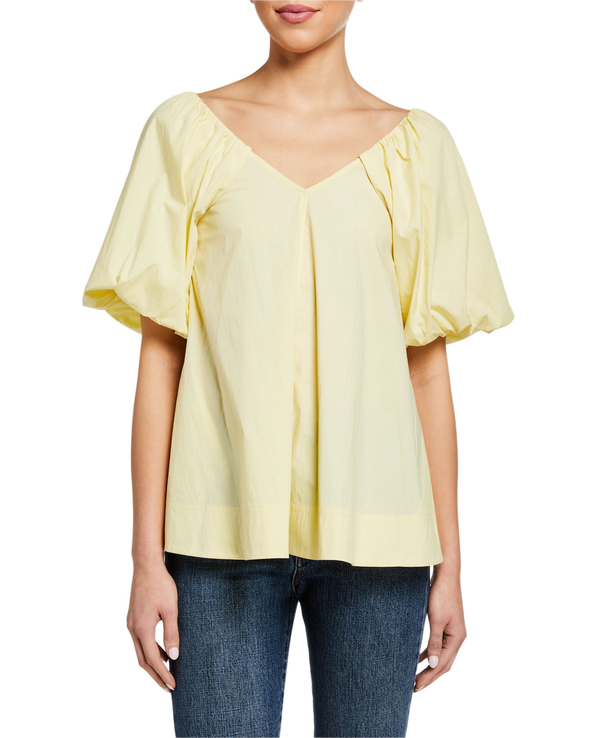 Co Tops PUFF-SLEEVE V-NECK TOP