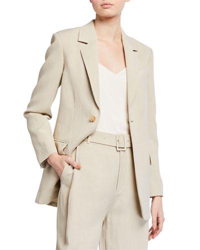 Lightweight Twill Tie-Waist Blazer Jacket