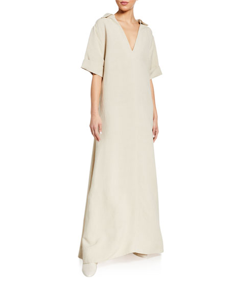Co Open-Neck Collared Dress