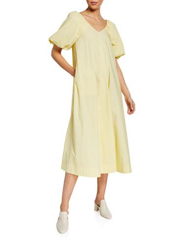 V-Neck Puff-Sleeve A-Line Midi Dress