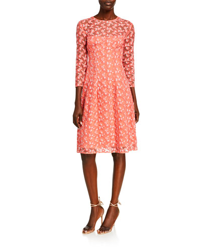 Holly Floral Embroidered Tulle Dress