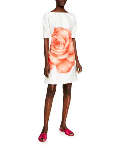 Oversized Rose Cotton/Silk Folded-Sleeve Tunic Dress