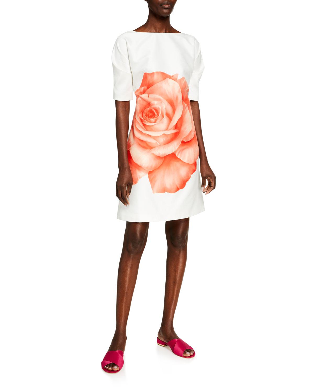Lela Rose OVERSIZED ROSE COTTON/SILK FOLDED-SLEEVE TUNIC DRESS