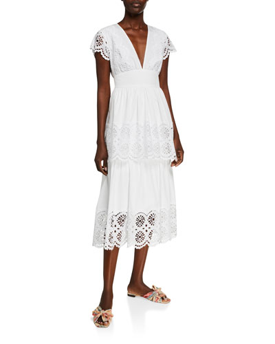 White Embroidered Shift Dress | Neiman Marcus