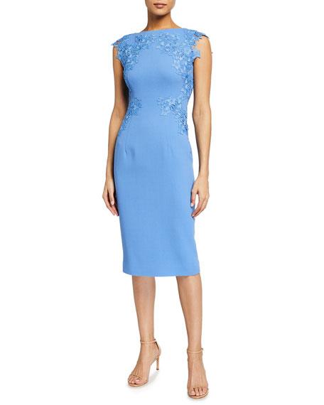 Lela Rose Lace-Embroidered Wool Crepe Sheath Dress