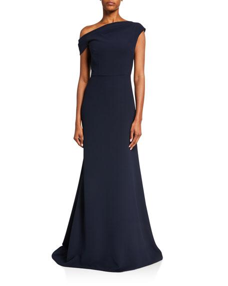 Lela Rose Off-the-Shoulder Fluid Crepe Gown