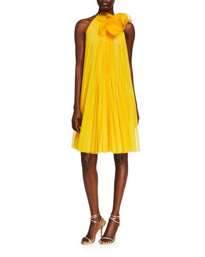Point d'Esprit Tulle Pleated Halter Dress w/ Flower Detail