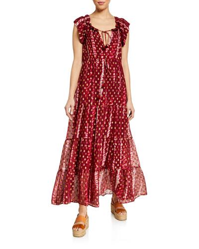 Gianna Metallic Chiffon Tiered Dress