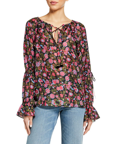 Figue Clodie Floral Print Flare-Cuff Top