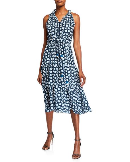 Figue Gabriella Dotted Silk Midi Dress