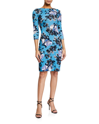 Reese Floral Print 3/4-Sleeve Dress, Blue