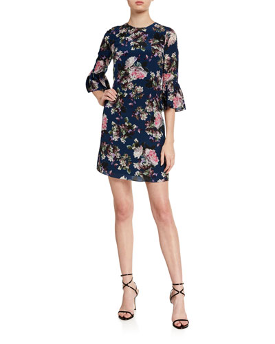 Elijah Emma Floral Print Silk Dress
