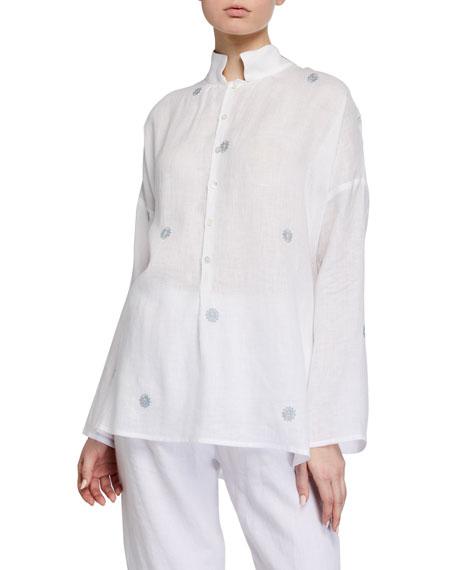 Eskandar Slope-Shoulder Wide A-Line Smock Shirt - Long
