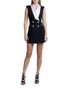 Balmain Sleeveless Satin-Lapel Dress