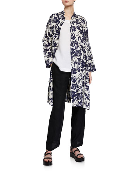Eskandar Linen Mandarin-Collar Coat