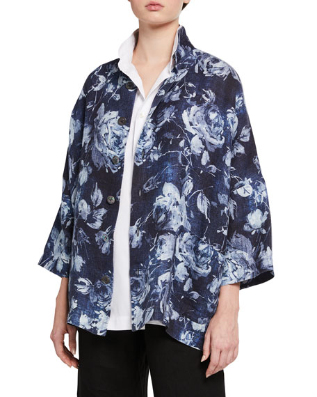 Eskandar Linen Sloped-Shoulder Jacket