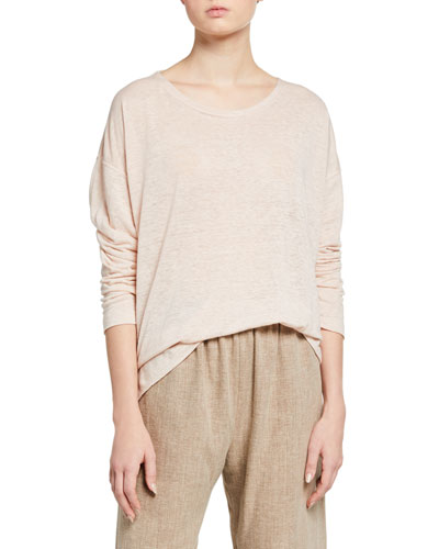 Linen Boat-Neck Sweater