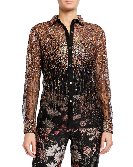 Libertine Dripping Bead Tulle Classic Shirt