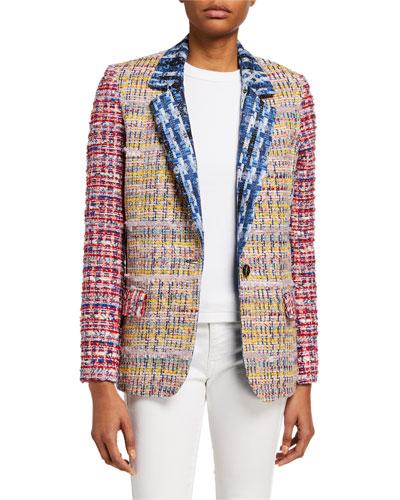 Mixed Tweed Long Blazer