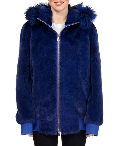 Mink Fur Zip-Front Hooded Jacket with Fox Fur Trim, Royal Blue