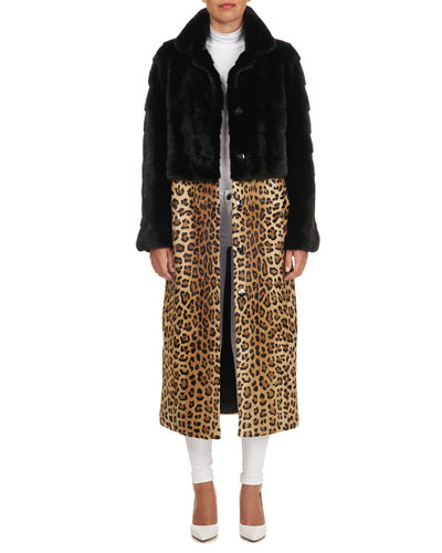 Mink Fur Coat with Detachable Leopard-Print Skirt