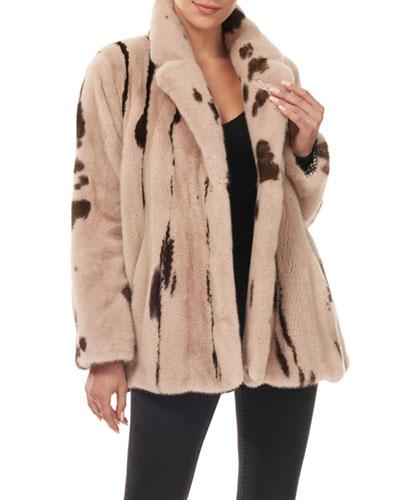 Jaguar-Print Mink Fur Jacket w/ Notch Collar