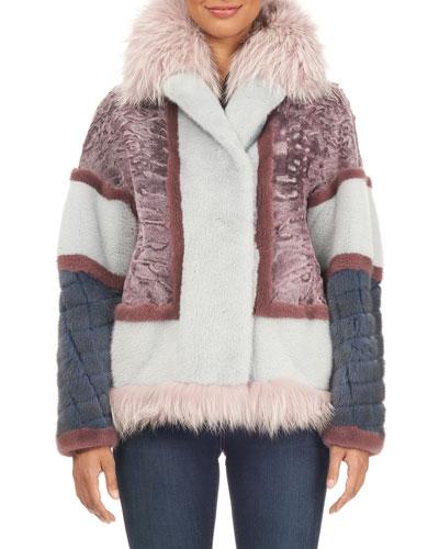 Lamb & Mink Fur Jacket W/ Fox Fur Trim