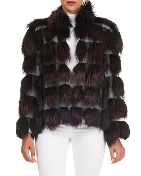 Zac Posen Fox-Fur Jacket with Organza Inserts