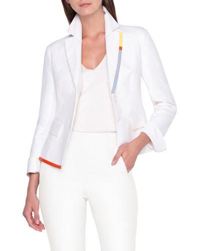 Contrast Trim Asymmetric Shirt Jacket