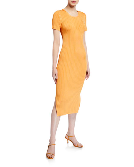 Sally LaPointe Shiny Jersey Fitted Dress