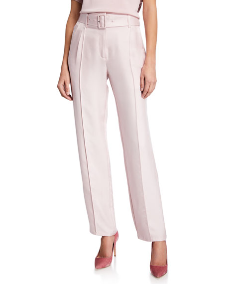 LAPOINTE Silky Twill Pintucked Belted Pants, Mauve