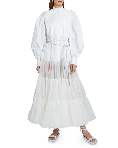 Valentino Long Puff-Sleeve Techno Cotton & Tulle Dress