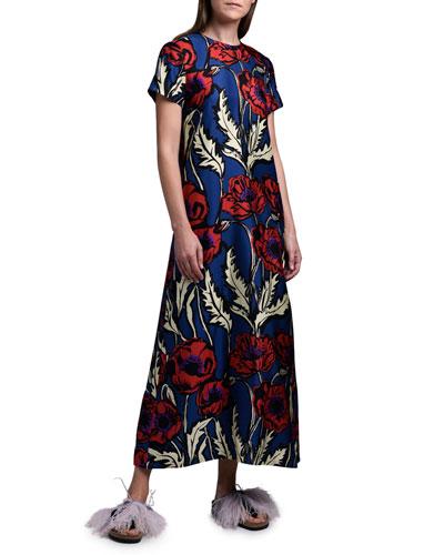 Floral Long Silk Swing Dress