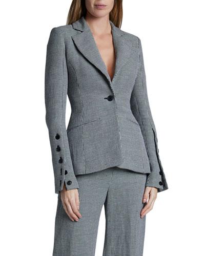 Longview Checked Linen Blazer Jacket